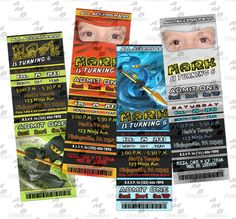 """Ninjago ticket Invitations & matching Party Supplies available .This invitation in the Ninjago theme will """"WOW"""" your party guests. Customized just for you; party supplies to match are available. 11 different design styles to choose from. Custom Party Invitations, Ticket Invitation, Party Plates, Party Cups, Diy Party, Party Favors, Disney Scrapbook, Party Guests, Design Styles"""