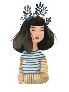 By Laura Bernard #laura bernard #illustration #watercolour #watercolor #plants #stripes #portrait