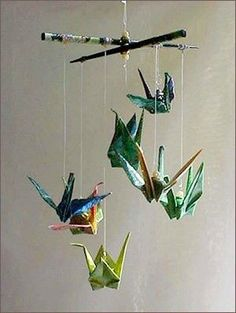 Paper Kit DIY Peace Crane Origami Ornament Mobile by localcolorist