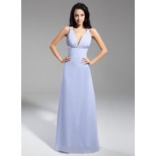 [US$ 135.99] A-Line/Princess V-neck Floor-Length Chiffon Evening Dress With Ruffle Sequins Bow(s) (008014939)