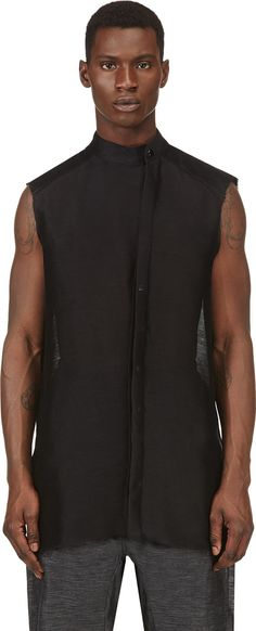 Visions of the Future: Thamanyah Black Sleeveless Semisheer Button Down Shirt