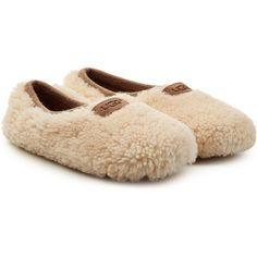 UGG Australia Birche Sheepskin Slippers ($99) ❤ liked on Polyvore featuring shoes, slippers and grey