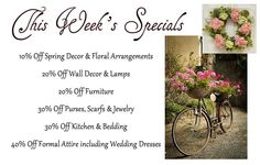 New Arrival Lets Celebrate the Gorgeous Warmer Weather that we are experiencing with a GREAT SALE! 10% Off Spring Decor & Floral Arrangements 20% Off Wall Decor & Lamps 20% Off Furniture 30% Off Purses Scarfs & Jewelry 30% Off Kitchen & Bedding 40% Off Formal Attire including Wedding Dresses Sale runs today through Saturday. Stop in early for the best selection!  The latest merchandise to arrive here at Uniquely Me Boutique  Downtown Port Hurons Consignment and Resale Store from Uniquely Me…
