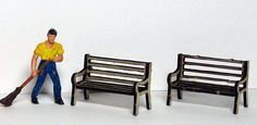 HO Scale Wooden Park Benches