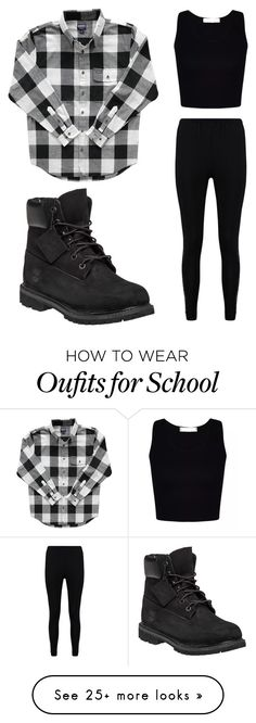 """School day norm"" by amylangg on Polyvore featuring Timberland and Boohoo"