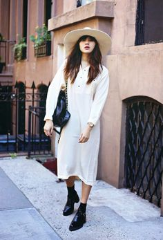 Oversized blogger hat in nude paired with a coordinating shirtdress.