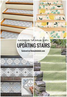 Unique Ideas for Updating Stairs (Remodelaholic) Redo Stairs, Staircase Makeover, Staircase Ideas, Entry Stairs, Diy Hacks, Banister Remodel, How To Clean Copper, Hardwood Stairs, Wooden Stairs