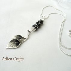 Calla Lily and Smoky Quartz Pendant Necklace  £9.95