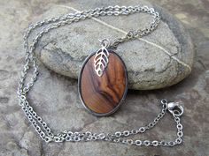 Wooden Necklaces – Necklace olive wood leaf pendant stainless steel   – a unique product by Alentejoazul on DaWanda