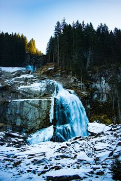 Krimmler Wasserfall, Austria, one of the highest waterfalls in Europe. Icy waterfall in winter...