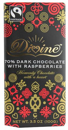 Divine 70%  Dark Chocolate with Raspberries -- 3.5 oz | Kosher, made from Ghana's Fair Trade cocoa beans... the perfect party favor
