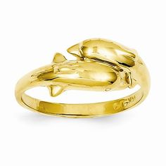 14k Yellow Gold Double Dolphin Ring