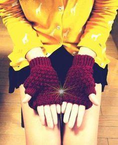 玉編みのフード付き手袋 【無料編み図】 - 北欧風無料編み図 アケメロン伝説~きみだけに~