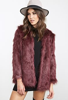 Collarless Faux Fur Jacket   FOREVER 21 - 2055879015