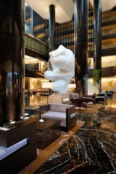 Lobby Lounge at Park Hyatt Hyderabad, designed by HBA/Hirsch Bedner Associates.: