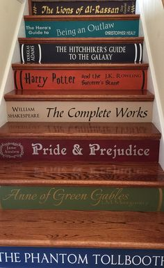 Two or More Book Stair Decals Lettering for DIY Book Steps image 1 Book Stairs, Attic Stairs, Guide To The Galaxy, Diy Inspiration, Dream Library, Painted Stairs, Home Libraries, Lettering, Any Book