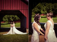 Gorgeous first look | Becky & Bonnie's rustic, DIY Maryland farm wedding | Images: A Lovely Photo