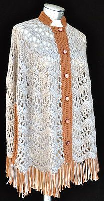 Vintage 70's Hippie Hand Crocheted Poncho