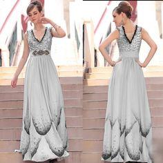 Elegant Gray Grey Sequin V Neck Sleeveless Formal Evening Gown Dress Store SKU-122363