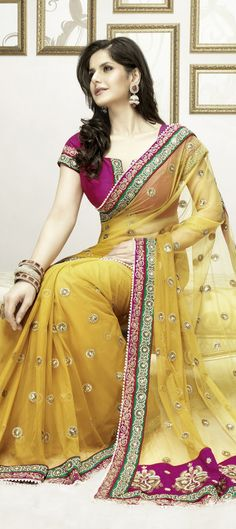 Gold Color Net Saree