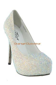 4b279ff101239b PLEASER White Suede Rhinestone Covered Bridal Wedding Pumps Formal Heels  Shoes