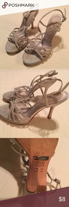 Silver evening heels Silver heels worn once Nina Shoes Heels