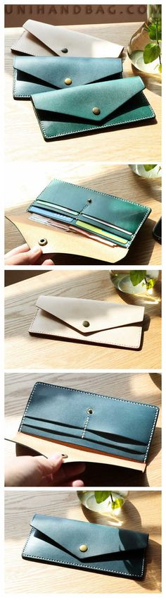 Handmade Top Grain Wallets Fashion Purse With Card Holder Vintage Long Wallet Clutch Wrist Bag iPhone QY78