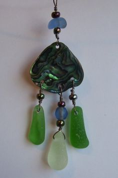 Sea Glass and Abalone Shell Necklace by BeachBaublesTM on Etsy, $50.00