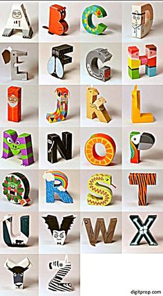 Free PDFs Papercraft Alphabet Letters – a collection of 26 papercraft templates for all letters of the alphabet, each representing an animal, thing, or people starting with that letter. Includes tutorial ❊