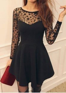4b088e936cf Cute Black Star Pattern Long Sleeve Dress on Luulla