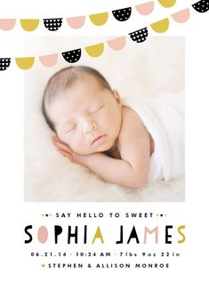 Baby Bunting banner birth announcement by Pistols