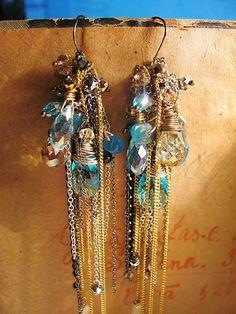 Extra long earrings Kyanite earrings Extreamly by MADAMBLUEONE, $20.00