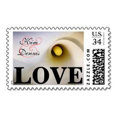 Personalized Calla Lily Love Postage Stamps Coral - Personalized Name and Date Calla Lily Postage Stamps with Coral Ampersand. Perfect for weddings and bridal showers. calla lily calla lilies lilly arum zantedeschia aethiopica