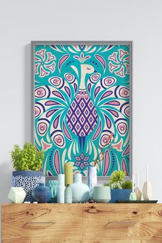Kitschy Peacock Pattern in Mid Century Cheeky Style Art Print by loriagoree Colourful Living Room, Peacock Pattern, Retro Furniture, House Colors, Printable Wall Art, Photo Art, Framed Art, Art Drawings, Canvas Art