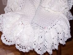 Crochet Soft Baby Afghan Blanket White with Deep Ruffle Ribbons Roses | eBay