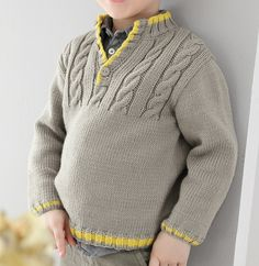 Modèle pull torsades Partner 3,5 Enfant - Modèles Enfant - Phildar Baby Boy Knitting Patterns, Sweater Knitting Patterns, Knitting For Kids, Knitting Designs, Knit Patterns, Free Knitting, Pull Torsadé, Knit Baby Sweaters, Crochet Baby Clothes