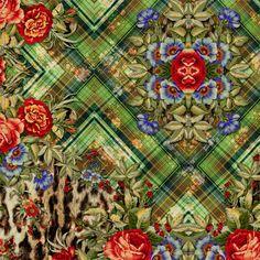 Xadrez + bicho + floral..... Pattern