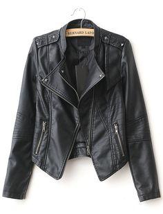 Black Lapel Rivet Zip Pocket PU Leather Jacket