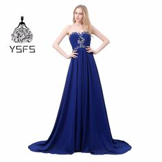Real Picture Sweetheart Royal Blue Long Evening Dresses Lace up Back Beaded Crystals Formal Evening Gowns Vestidos De Noite