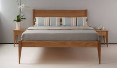 Cochin solid wooden bed, made in Britain of FSC American Walnut by the Natural Bed Company Bedroom Chairs Uk, Bedroom Furniture, Bedroom Bed Design, Modern Bedroom, Bed Without Storage, Classic Bedding, Japanese Bed, Retro Bed, Wooden Bed Frames