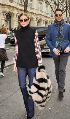 olivia palermo in flared jeans stripe blouse stripe fur stole #oliviapalermo…