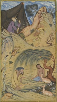 majnun visited in the desert by selim, layla o majnun (khamsa of nizami? Middle Eastern Art, Ancient Near East, Sacred Art, Illuminated Manuscript, Indian Art, 17th Century, Persian, Modern Art, 18th