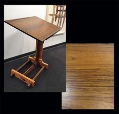 """STEVE TRICK: Standing Desk STEVE TRICK: Standing Desk Perfect for artists or writers! Heart of Pine, shedua and imbuia woods, ebony rim, old school desk hardware. Dimensions: 30"""" x 24"""" 42"""" tall."""