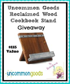 New Giveaway! Win This Gorgeous Reclaimed Wood Cookbook Stand From Uncommon…