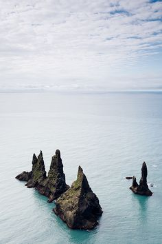 Þrídrangar on the south coast of Iceland. If you look closely you can see the lighthouse