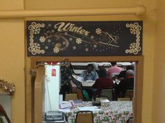 """Winter seasonal sign: approx. 40""""w x 12""""h. Made to hang over the door in a senior center."""