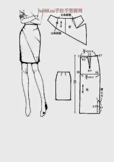 Chinese method of pattern making - skirts - modelist kitapları Skirt Patterns Sewing, Sewing Patterns Free, Clothing Patterns, Sewing Tutorials, Pattern Cutting, Pattern Making, Fashion Sewing, Diy Fashion, Sewing Clothes