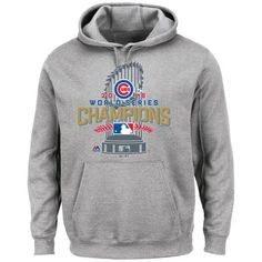 b3680d717c4 Chicago Cubs Majestic 2016 World Series Champions Locker Room Pullover  Hoodie - Gray