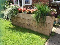 Outside Planters, Trough Planters, Diy Planters, Garden Planters, Balcony Ideas, Patio Ideas, Garden Ideas, Long Planter Boxes, Basement Conversion