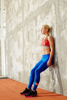 """KneesWall Chair """"Stamina is an element of strength that your knees require,"""" Ungaro says. """"This static move taxes your quads and hamstrings, both of which cross the knee joint, to improve function and form."""" Stand with your back against the wall and your legs out in front of you. Feet are hip-width apart and parallel to one another. #refinery29 http://www.refinery29.com/reduce-pain-exercises#slide-6"""